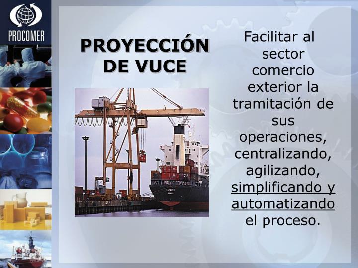 Facilitar al sector comercio exterior la tramitación de sus operaciones, centralizando, agilizando,
