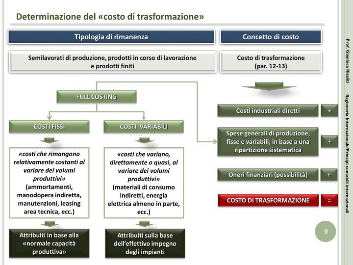 Determinazione del «costo di trasformazione»
