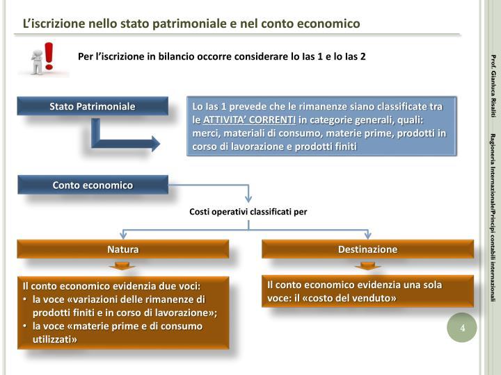 L'iscrizione nello stato patrimoniale e nel conto economico