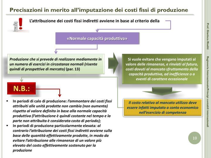 Precisazioni in merito all'imputazione dei costi fissi di produzione