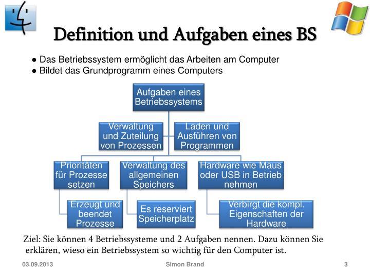Definition und Aufgaben eines BS