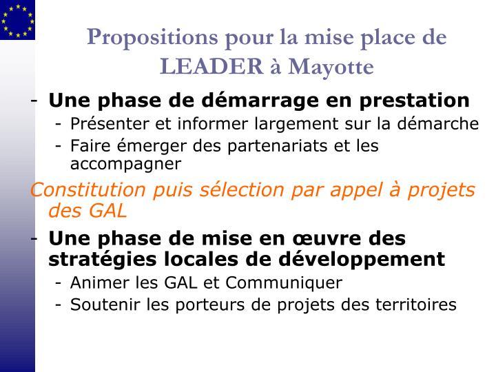 Propositions pour la mise place de LEADER à Mayotte