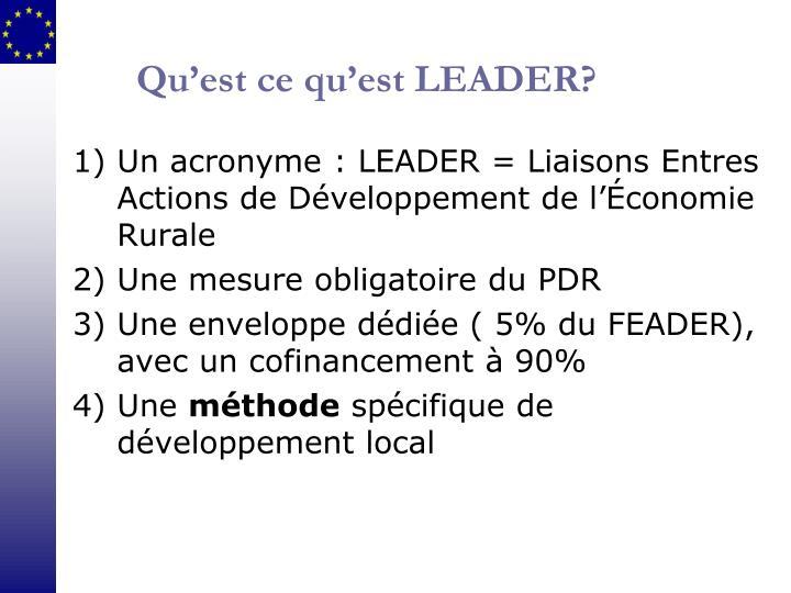 Qu'est ce qu'est LEADER?