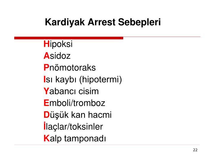 Kardiyak Arrest Sebepleri