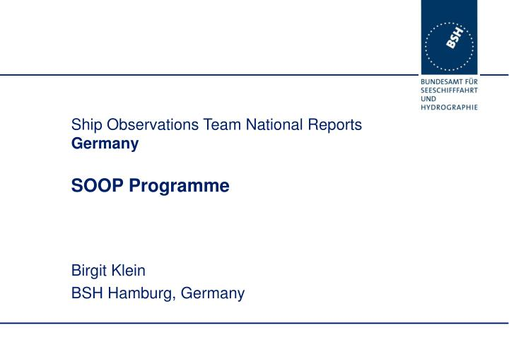 Ship observations team national reports germany soop programme