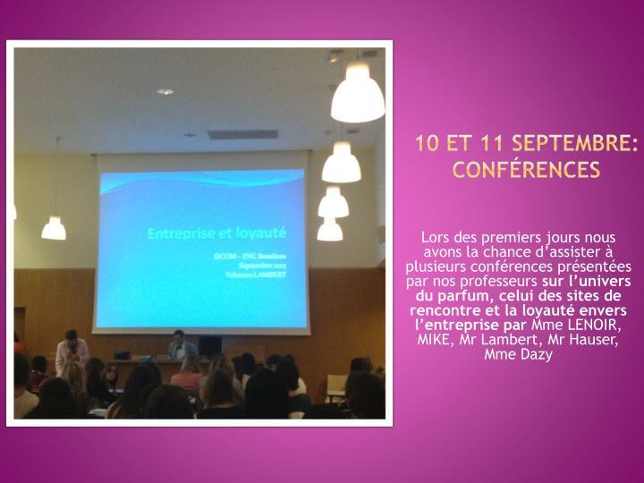 10 et 11 septembre: Conférences