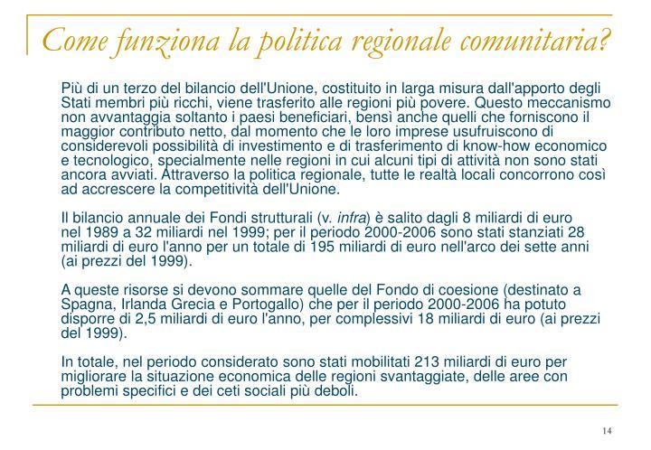 Come funziona la politica regionale comunitaria?