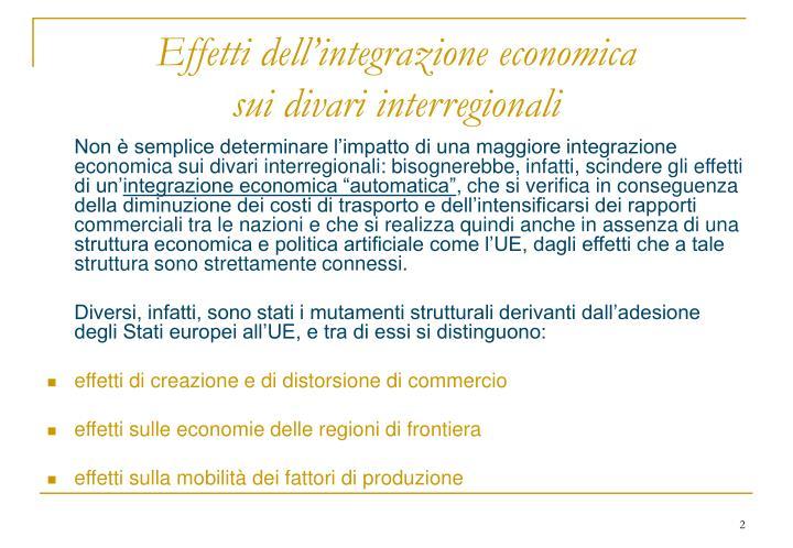 Effetti dell'integrazione economica