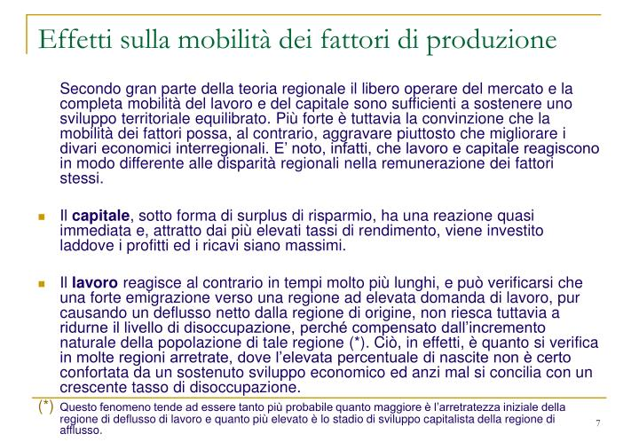 Effetti sulla mobilità dei fattori di produzione