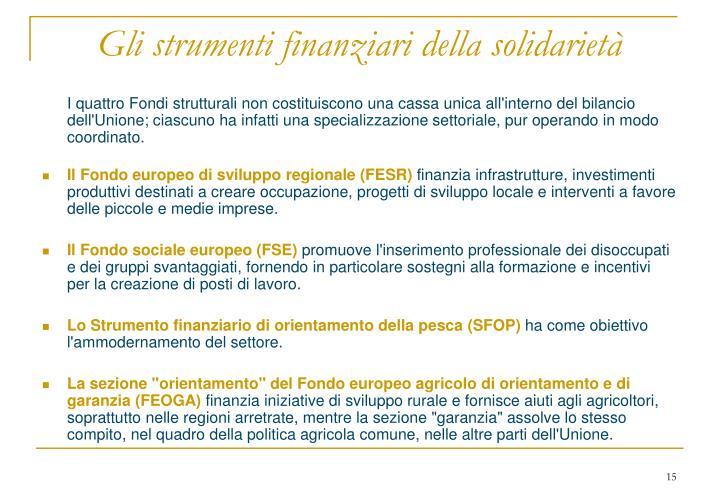 Gli strumenti finanziari della solidarietà