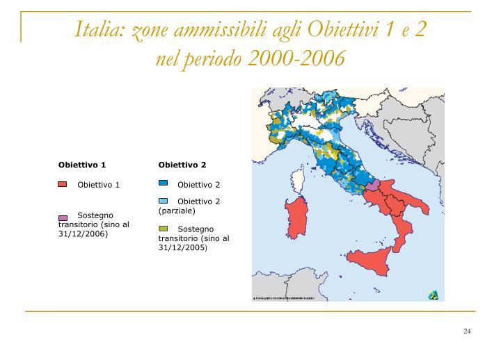 Italia: zone ammissibili agli Obiettivi 1 e 2