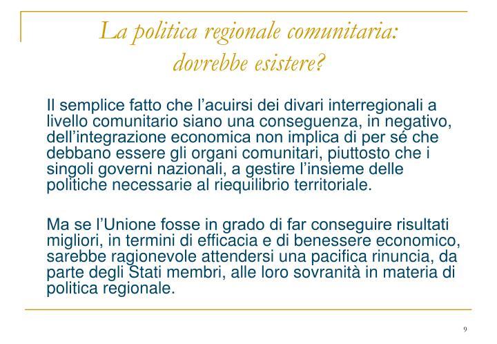 La politica regionale comunitaria:
