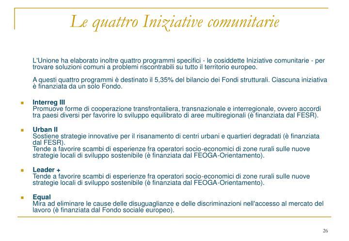 Le quattro Iniziative comunitarie