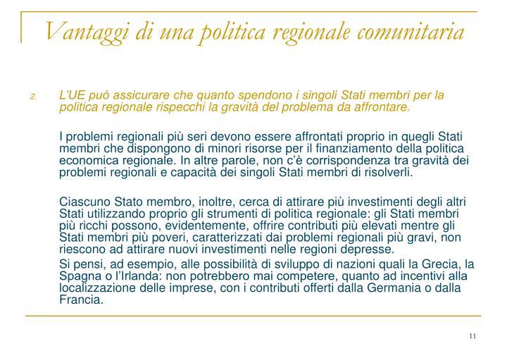 Vantaggi di una politica regionale comunitaria