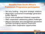 benefits from south africa s framework programme participation