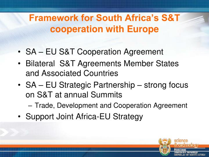 Framework for south africa s s t cooperation with europe