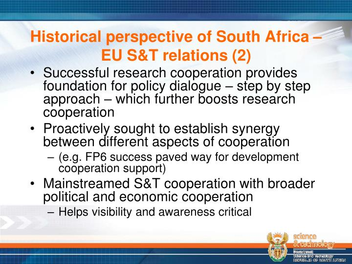 Historical perspective of South Africa – EU S&T relations (2)
