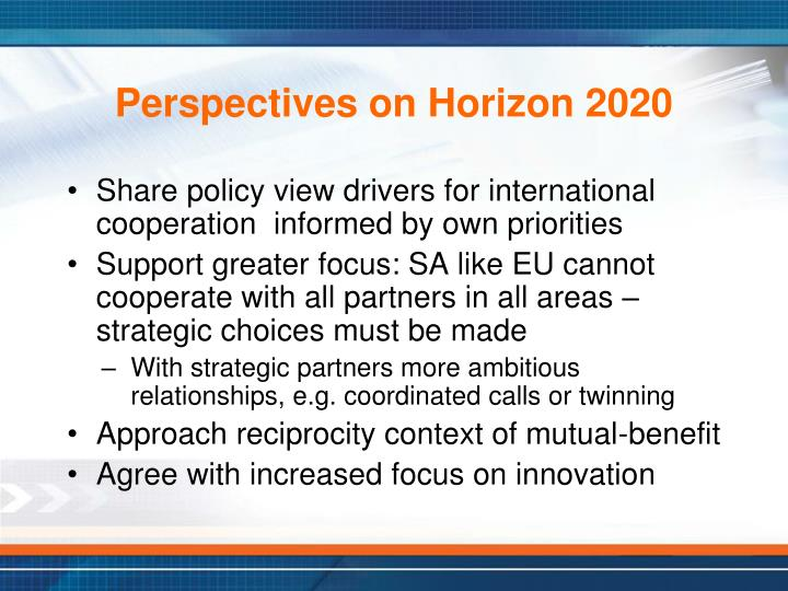 Perspectives on Horizon 2020