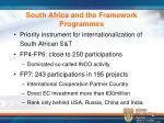 south africa and the framework programmes