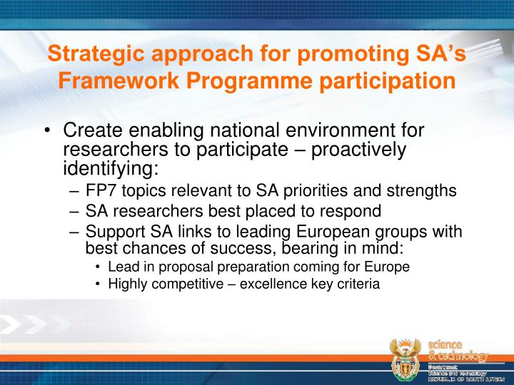 Strategic approach for promoting SA's Framework Programme participation