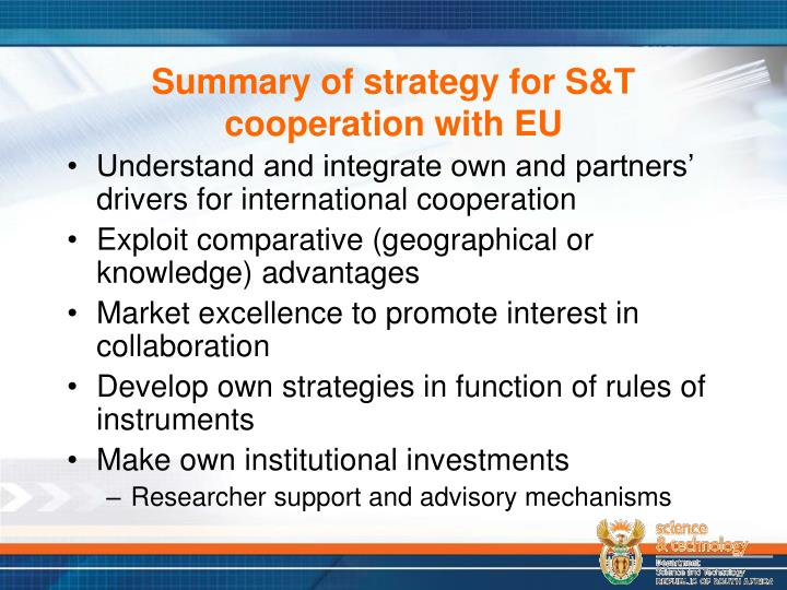 Summary of strategy for S&T cooperation with EU