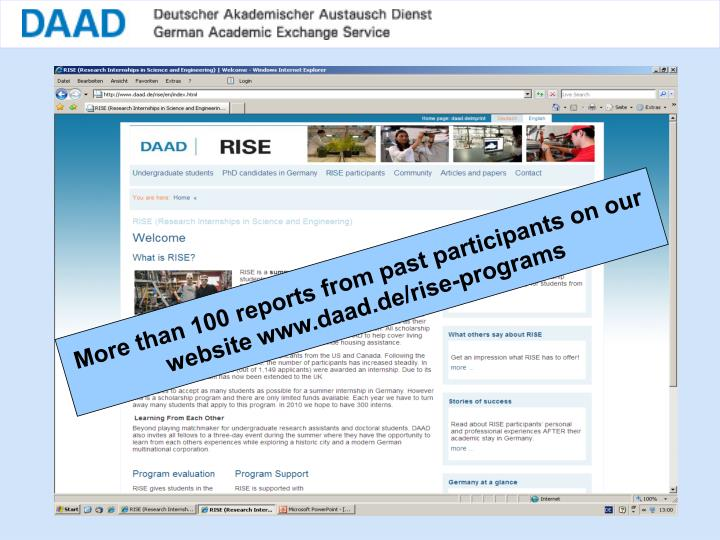 More than 100 reports from past participants on our