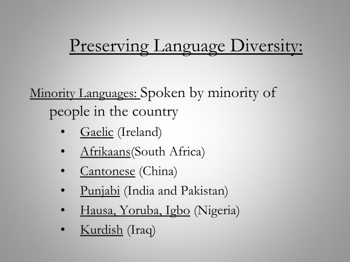 Preserving Language Diversity: