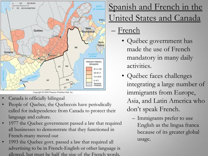 Spanish and French in the United States and Canada