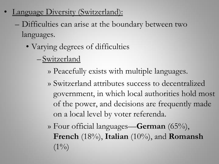 Language Diversity (Switzerland):