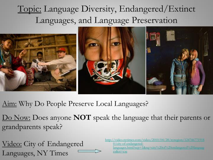 Topic language diversity endangered extinct languages and language preservation