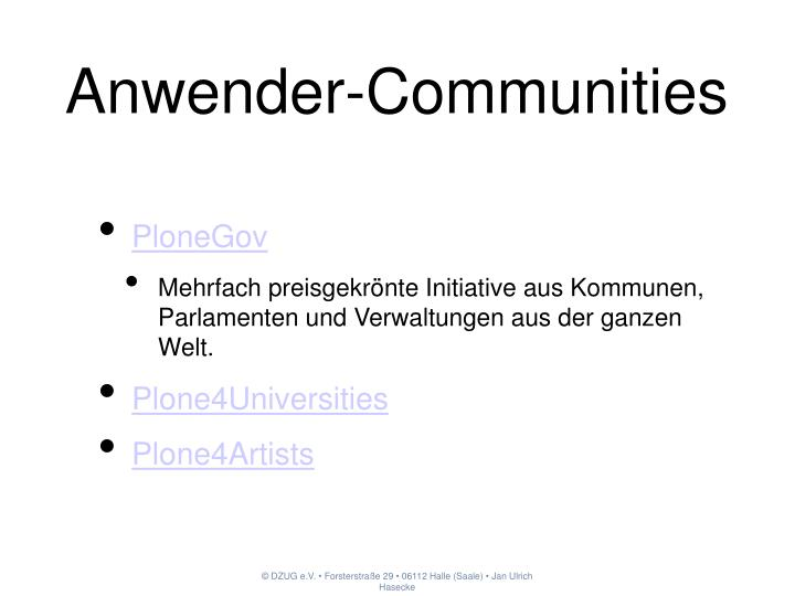 Anwender-Communities