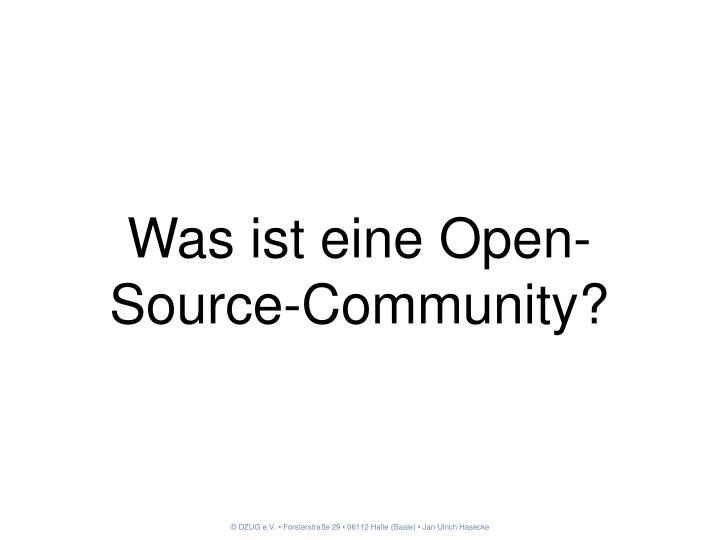 Was ist eine open source community
