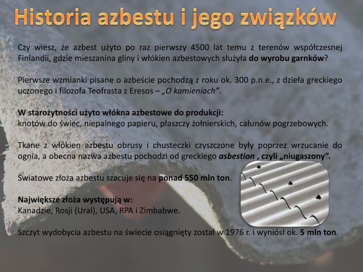 Historia azbestu i jego związków