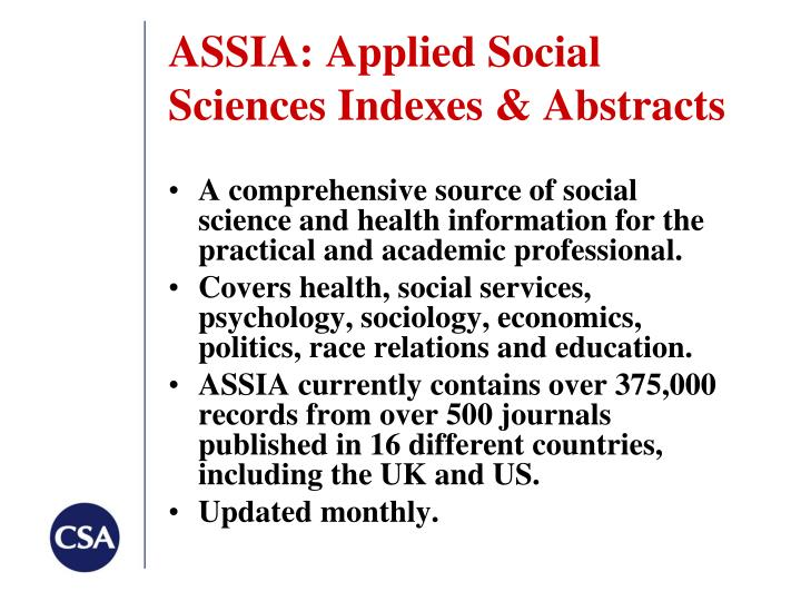 ASSIA: Applied Social Sciences Indexes & Abstracts