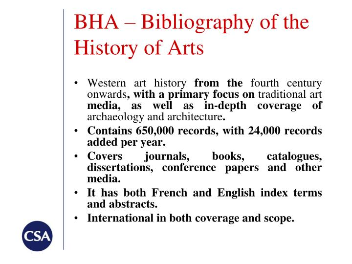 BHA – Bibliography of the History of Arts