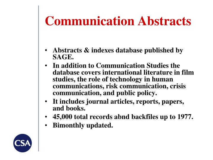 Communication Abstracts