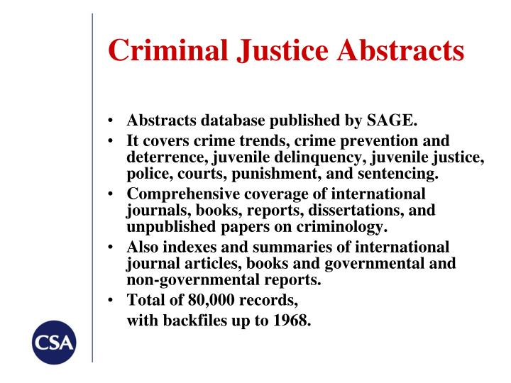 Criminal Justice Abstracts