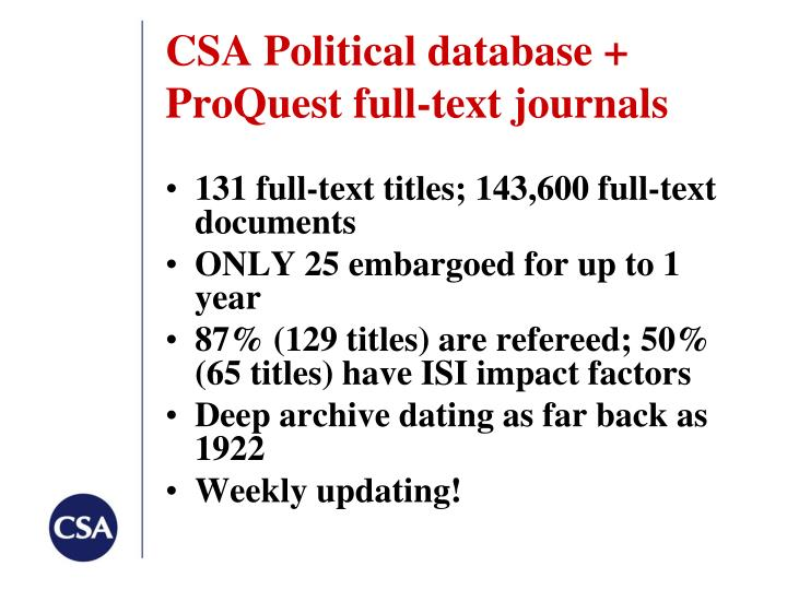 CSA Political database +