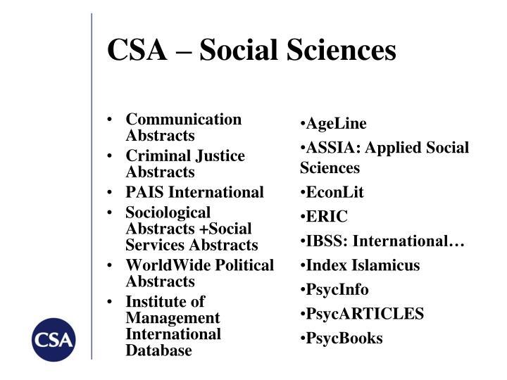 CSA – Social Sciences