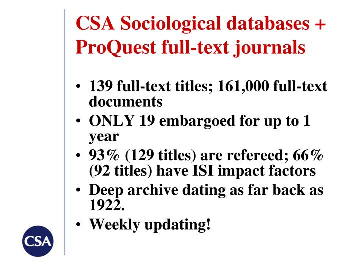 CSA Sociological databases +