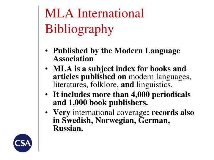 MLA International Bibliography