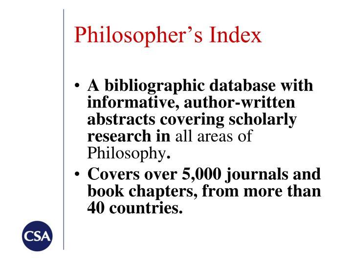 Philosopher's Index