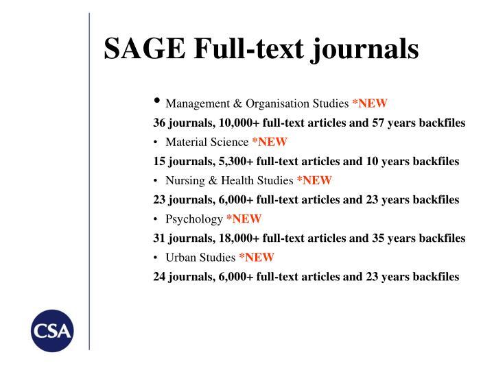SAGE Full-text journals