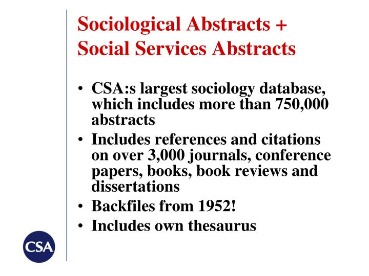 Sociological Abstracts +