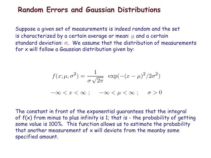 Random errors and gaussian distributions
