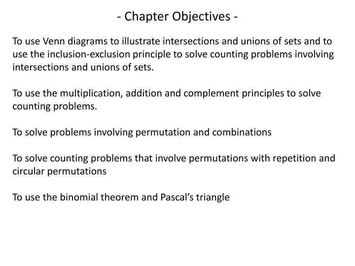 - Chapter Objectives -