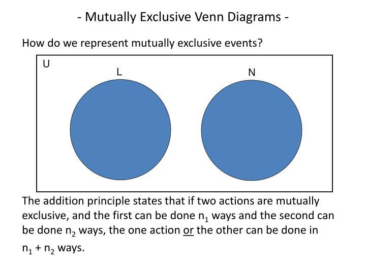 - Mutually Exclusive Venn Diagrams -