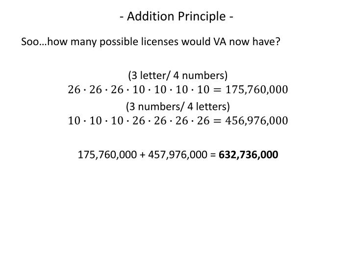 - Addition Principle -
