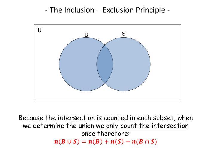 - The Inclusion – Exclusion Principle -