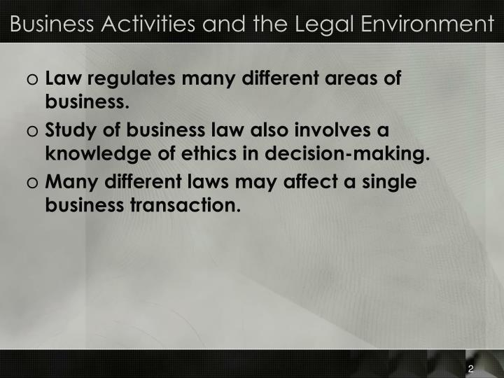 Business Activities and the Legal Environment